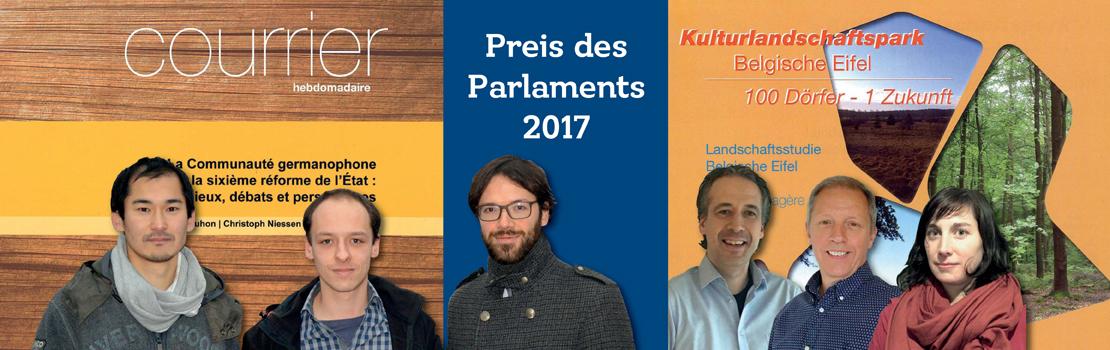 Preise des Parlaments 2017 an N. Bodarwé, H. Winters und J. Verbeek und an F. Bouhon, C. Niessen und M. Reuchamps
